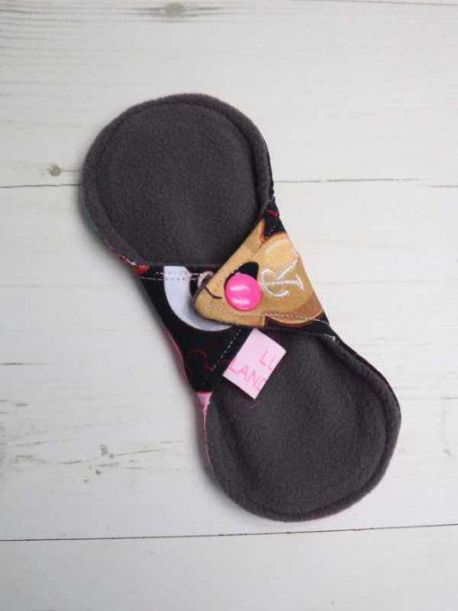 "6"" Regular Flow cloth pad | Pokeballs Cotton Jersey | Grey Wind Pro Fleece | Luna Landings | Slim Sub"