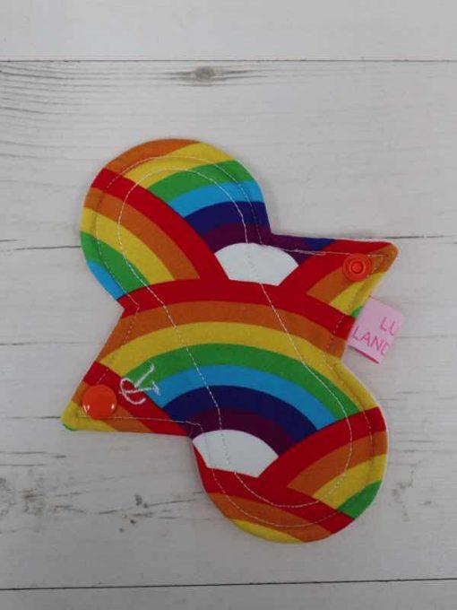 "6"" Regular Flow cloth pad   Rainbow Cotton Jersey   Natural Organic Cotton Fleece   Luna Landings   Slim Sub"