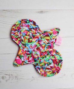 "6"" Regular Flow cloth pad | Sprinkles Cotton Jersey | Wine Polar Fleece | Luna Landings | Slim Sub"