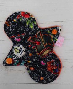 "6"" Regular Flow cloth pad | Wizards Cotton Jersey | Orange Polar Fleece | Luna Landings | Slim Sub"