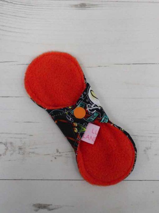 "6"" Regular Flow cloth pad   Wizards Cotton Jersey   Orange Polar Fleece   Luna Landings   Slim Sub"
