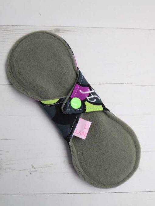 "8"" Heavy Flow cloth pad | Dragon Scales Purple Cotton Jersey | Green Wind Pro Fleece | Luna Landings | Slim Sub"