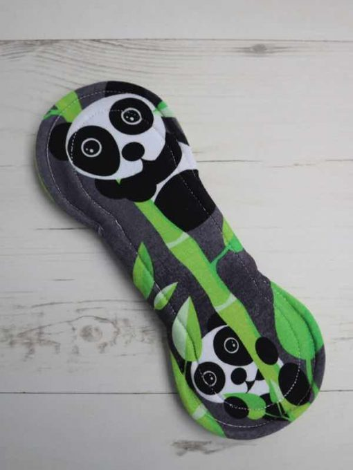 "8"" Heavy Flow cloth pad   Panda Cotton Jersey   Green Soft Shell   Luna Landings   Slim Sub"