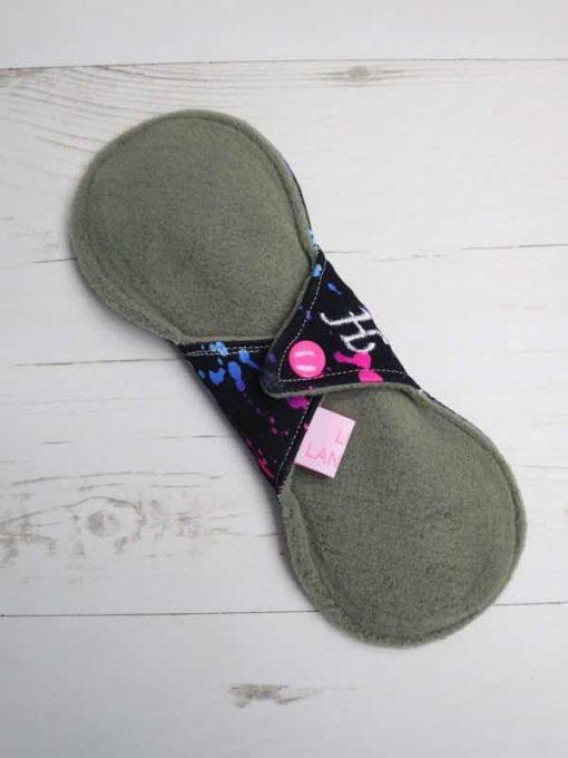 "8"" Heavy Flow cloth pad | Rainbow Ink Cotton Jersey | Green Wind Pro Fleece | Luna Landings | Slim Sub"
