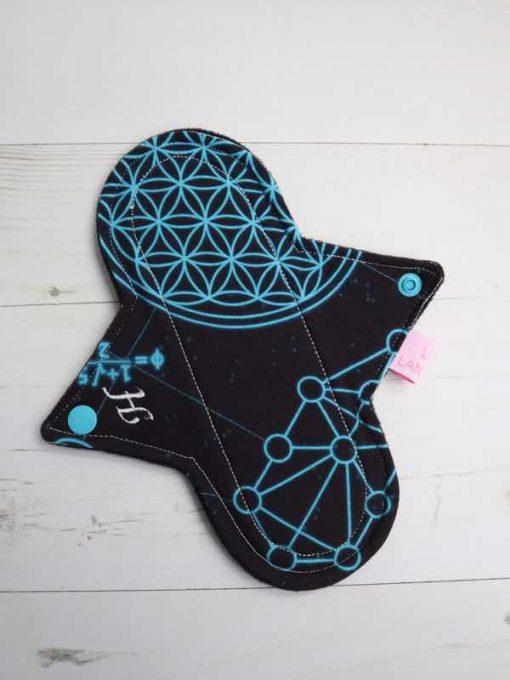 "8"" Heavy Flow cloth pad   Sacred Geometry Cotton Jersey   Black Wind Pro Fleece   Luna Landings   Sub"