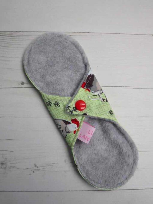 "8"" Light Flow cloth pad | Chickens Cotton | Grey Polar Fleece | Luna Landings | Sub"