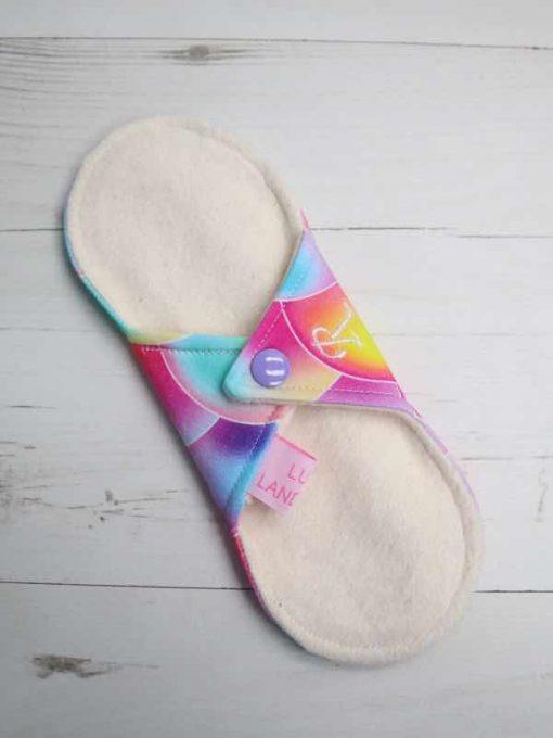 "8"" Regular Flow cloth pad | Dreamy Scales Cotton Jersey | Natural Organic Cotton Fleece | Luna Landings | Sub"