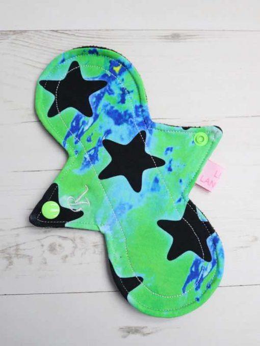 "8"" Regular Flow cloth pad   Magic Stars Zeke Cotton Jersey   Black Soft Shell   Luna Landings   Slim Sub"