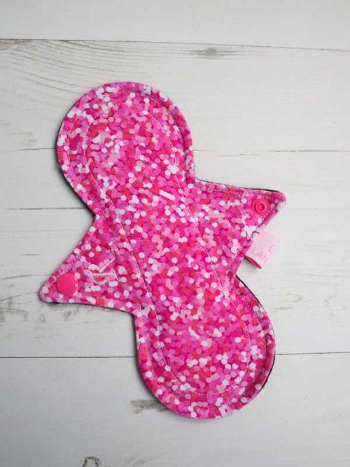 "8"" Regular Flow cloth pad | Pink Glitter Cotton Jersey | Black Organic Cotton Fleece | Luna Landings | Slim Sub"